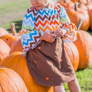 Lolly Wolly Doodle Fall Chevron Pumpkin Bell Dress